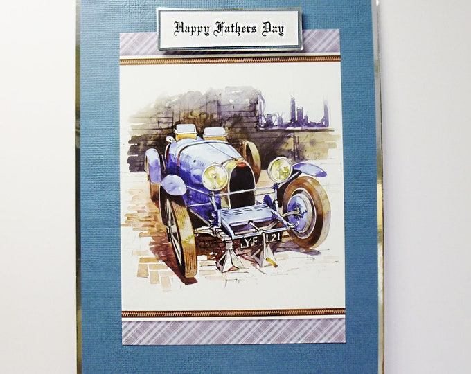 Fathers Day Card, Birthday Card, Vintage Car, Blue Car, Special Day Card, Card For Dad, Automobile Car, Personalise The Card