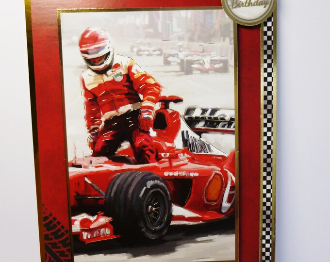 Racing Car Card, Formula One Racer, Red Racing Car, Your  A Winner, Card For Son, Card For Brother, Card For Dad