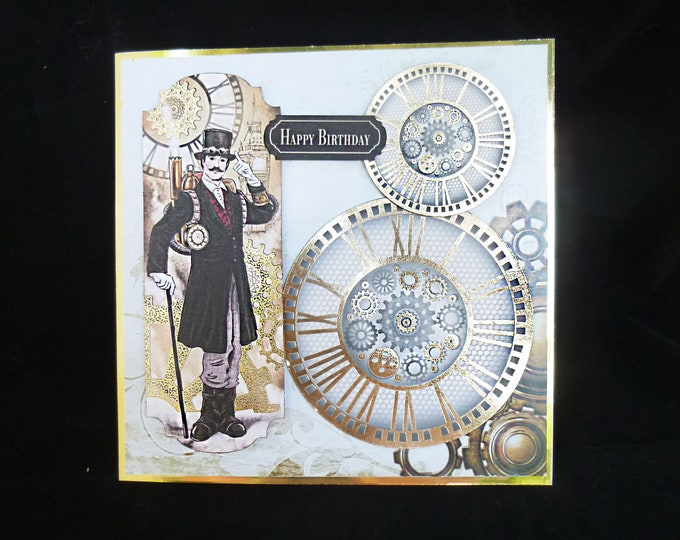 Retro Style Mans Card, Vintage Card, Steampunk Card, Cogs And Wheels, Happy Birthday Card, Card For Dad, Card for Son, Card For Brother