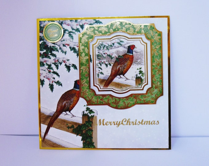 Pheasant Christmas Card, Bird Christmas Card, Holly And Ivy, Winter Scene, Season's Greetings, Festive Card, Merry Christmas