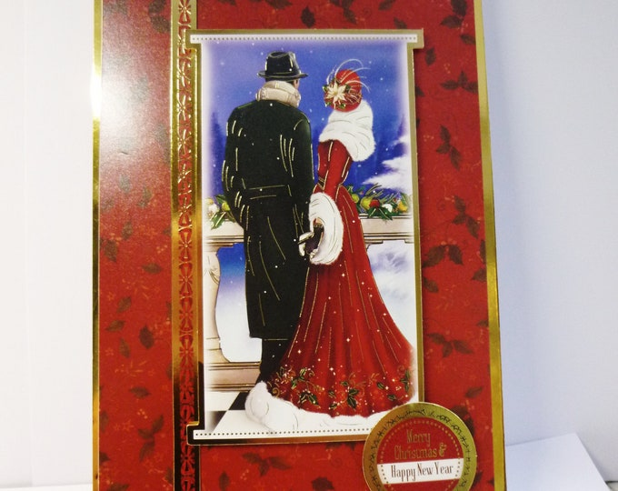 Art Deco Christmas Card, Festive Card, Merry Christmas Card, Happy New Year Card, 1920's Style Card, Red And Gold,