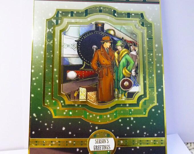 Art Deco Christmas Card, Festive Card, Seasons Greetings Card, 1920's Style Card, Railway Station, Card for Mum, Card For Sister