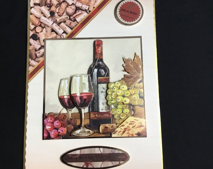 Red Wine 3D Decoupage Card, Special Birthday Card, Special Day Card, Especially For You, Birthday Greetings, Handmade In The UK
