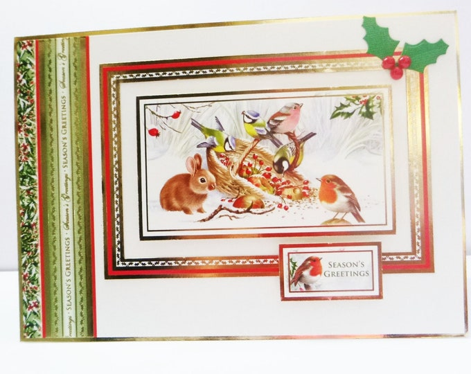 Animal Christmas Card, Traditional Christmas Card, Seasons Greetings, Festive Greetings, Christmas Greetings, Handmade In The UK,
