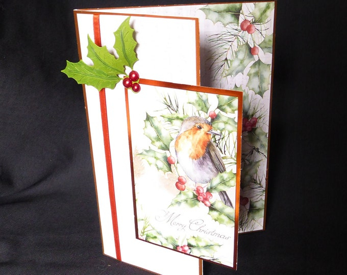Traditional Robin Christmas Card, Bird Card, Seasonal Greetings, Festive Fun, Merry Christmas, Celebrate Christmas, Handmade In The UK