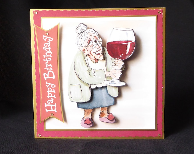 Large Glass Of Wine, Birthday Tipple, Happy Birthday, 3 D Decoupage, Especially For You, Birthday Greetings, Special Birthday, Handmade ,