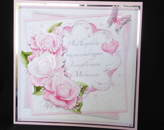 Large Card, 3 D Decoupage Card, Pink Floral Card, Especially For you, Special Day Card, Birthday Greetings, Birthday Wishes, Handcrafted