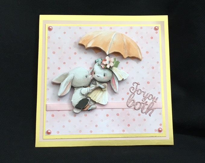 Two Rabbits, Wedding Card, Anniversary Card, To You Both, Especially For You, Special Day Card, Special Anniversary, Decoupage Card