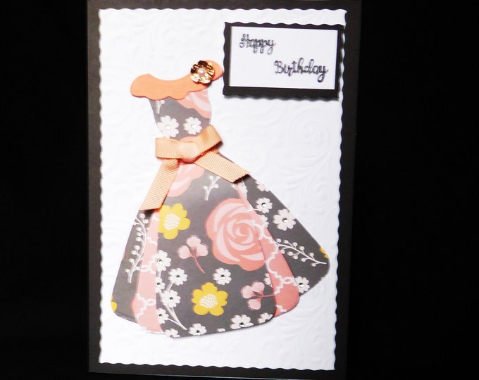 Party Dress Card, Decoupage Card, Especially For You, Special Birthday, Happy Birthday, Special Day Card, Handmade In The Uk
