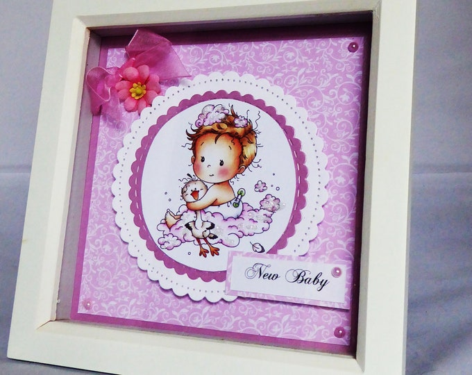 Shadow Box Picture, New Baby Gift, Special New Baby, Its A Girl, Congratulations, Celebration Gift, Personalised, Handmade In The UK