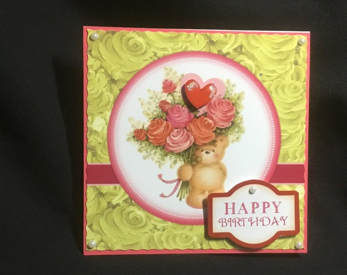 Pop Up Card, Birthday Card, Special Day Card, Especially For You, Birthday Wishes, Floral Card, Decoupage Card, Handmade In The UK