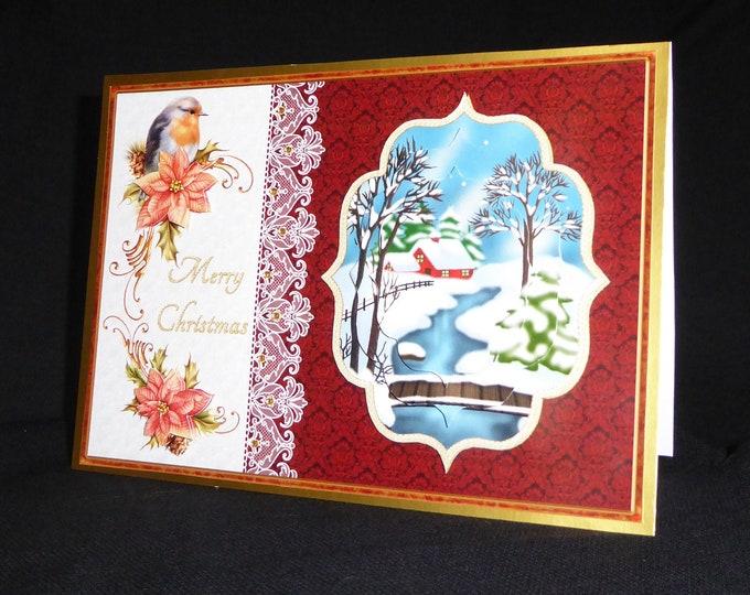 Traditional Christmas Card, Decoupage Card, Snow Scene, Robin Card, Seasonal Greetings, Merry Christmas, Festive Greetings