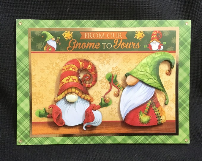 Gnome Christmas Card, 3D Decoupage, Especially For You, From Our Gnome To Yours, Festive Greetings, Seasonal Greetings, Handmade In The UK