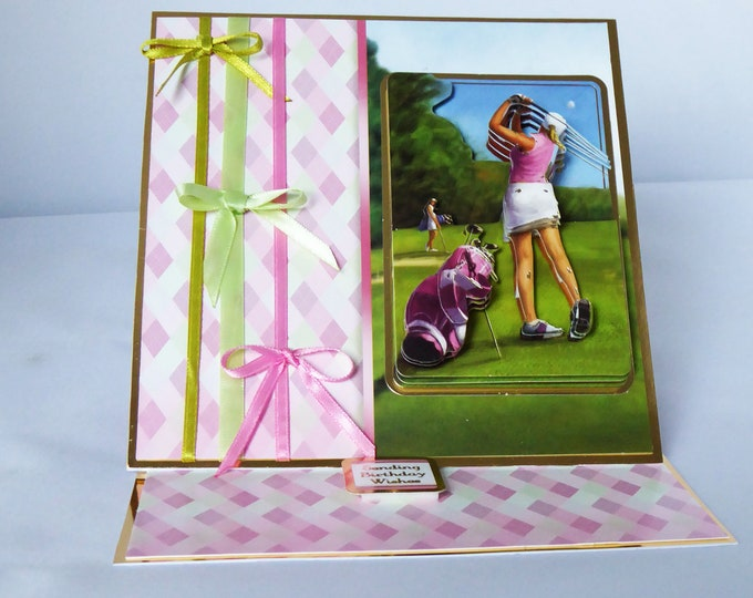 Ladies Sports Card, Golfing Card, 3 D Decoupage Card, Easel Card, Birthday Wishes, Special Birthday, Especially For You, Handmade In The UK