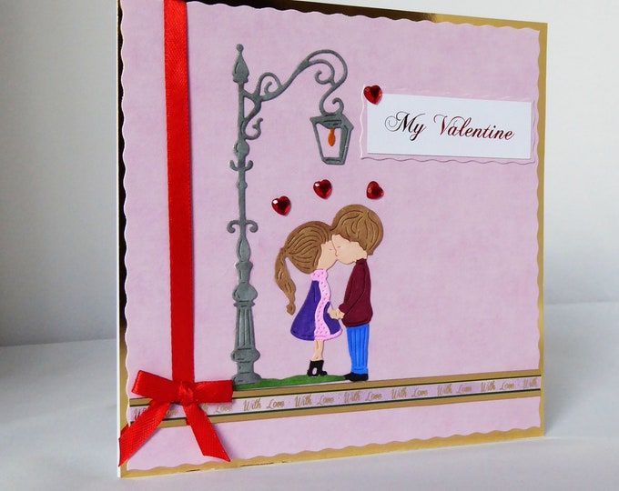 Valentine Card, Love Card, Romance Card, My Valentine, Kissing Couple, Personalised, Handmade In The UK