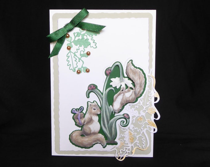 Two Squirrels Playing, 3D Decoupage Card, Birthday Card, Anniversary Card, Any Occasion Card, Especially For You, Special Day Card, Handmade