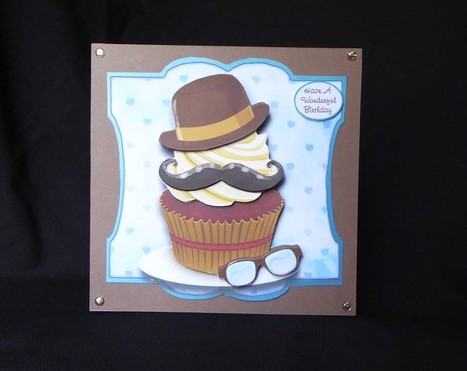 Male Birthday Card, Moustache And Bowler Hat Cup Cake Card, Wonderful Birthday Card, Especially For You, Special Day Card, Special Birthday