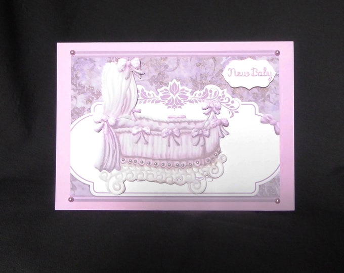 New Baby Card, Baby Girl, New Arrival, Special Person, Congratulations, Decoupage Card, Baby Crib Card, Tent Shaped Card Handmade In The UK