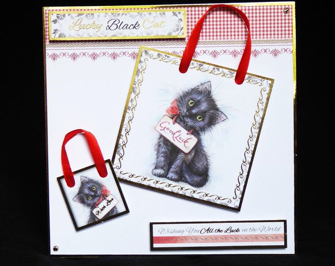 Lucky Black Cat Card, Good Luck Card, New Job Card, New Adventure Card, Exam Card, Little Black Cat, Handmade In The UK