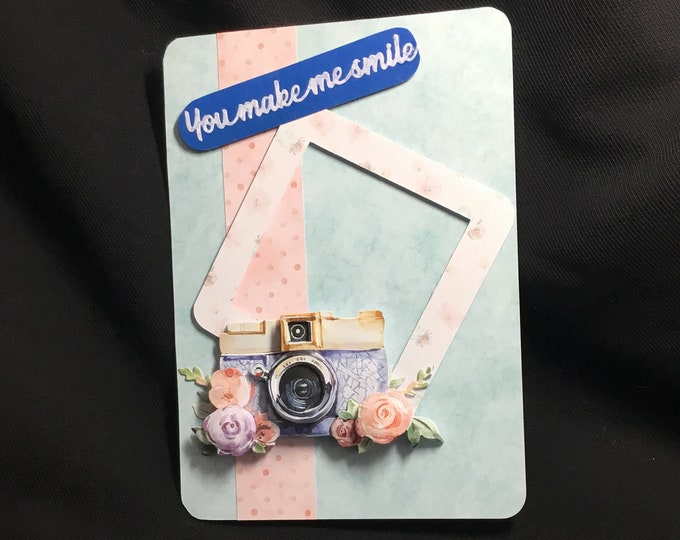 3D Decoupage Card, Frame And Camera, Especially For You, Special Day Card, Special Birthday, Handmade In The UK, Personalised