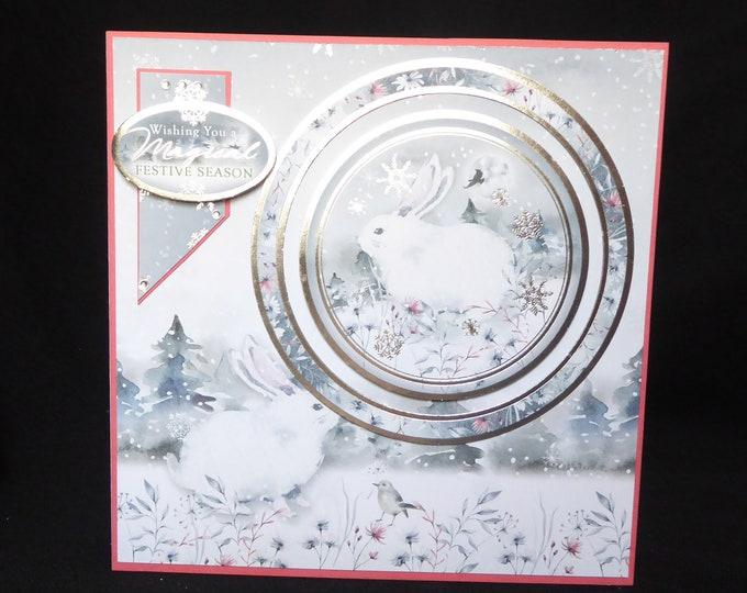 Winter Rabbit In The Snow, Winter Scene, Festive Season, Christmas Greetings, Magical Christmas, Seasonal Greetings, Handmade In The UK