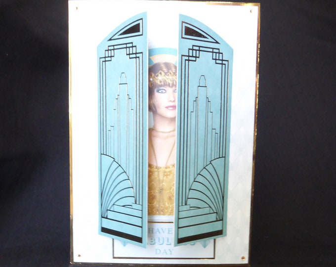 Art Deco Card, 1920's Style Birthday Card, Special Day Card, Window Card, Special Birthday, Especially For You, Handmade
