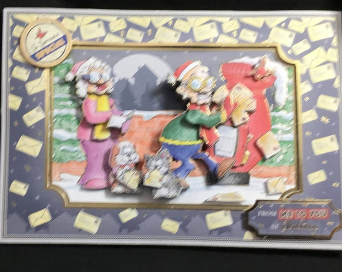 Fun Christmas Card, 3D Decoupage Card, Seasonal Greetings, Festive Fun, Christmas Time, Celebration Time, Handmade In The UK