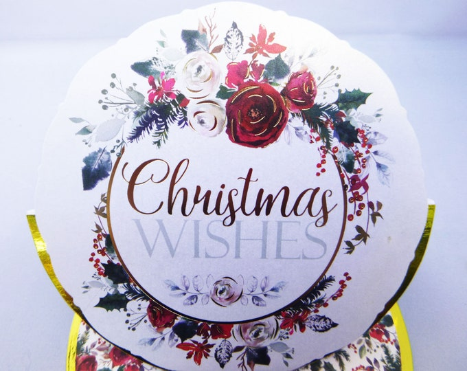 Seasonal Greetings, Christmas Wishes, Floral Christmas Card, Festive Card, Celebrate Christmas, Easel Card, Handmade In The UK