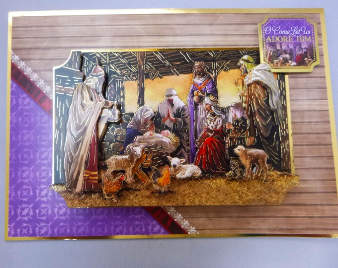 Nativity Scene, 3 D Decoupage Card, Three Wise Men, O Come Let Us Adore Him, Christmas Greetings, Seasonal Greetings, Celebrate Christmas