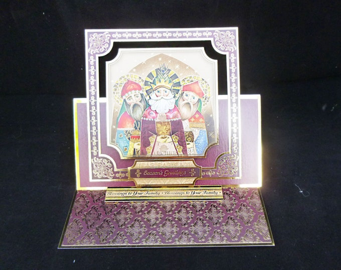 Three Kings Card, Traditional Christmas Card, Three Wise Men, Festive Greeting Card, Seasons Greetings, Maroon And Gold,