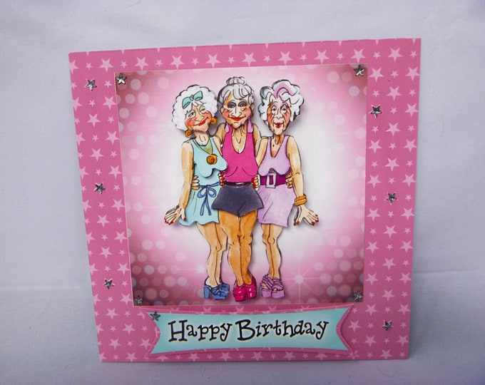 Glamour Girls Card, Old Girls Card, 3 D Decoupage Card, Happy Birthday Card, Personalised, Special Birthday Card, Best Friends Card