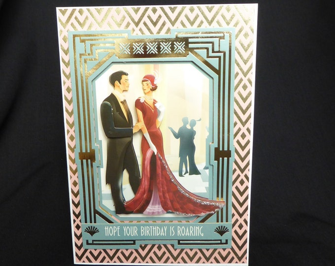 Art Deco 3 D Decoupage Card, 1920's Style Card, Special Birthday Card, Just For You, Happy Birthday, Especially For You Card