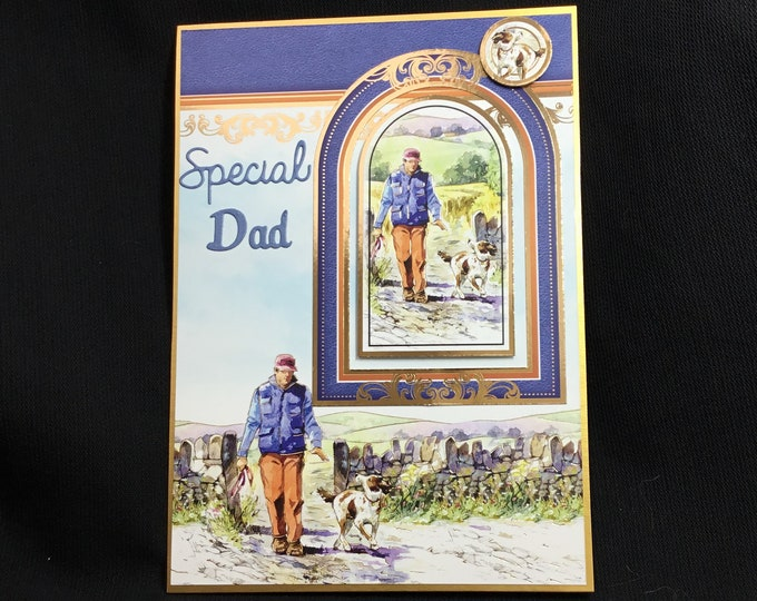 Fathers Day Card, Birthday Card, Man Walking His Dog, Especially For You, Special Day Card, Special Dad, Special Father, Handmade In The UK