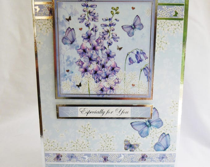 Blue Butterfly Birthday Card, Greeting Card, Silver and Blue, Female, Special Day, Especially For You, Special Birthday, Handmade In The UK