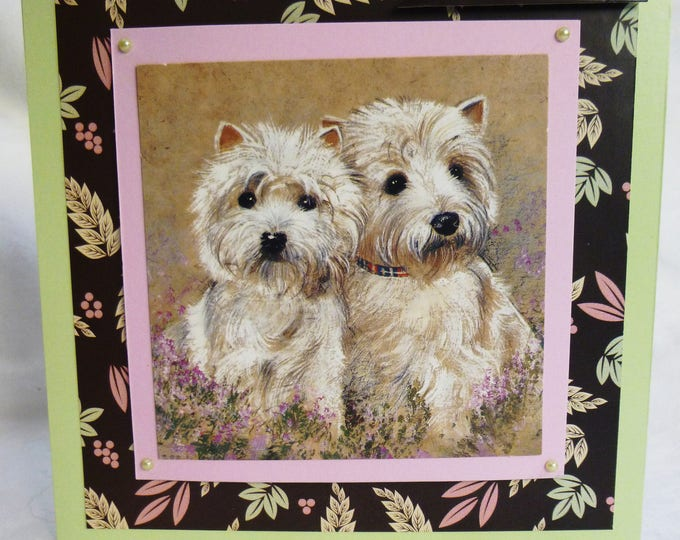 West Highland Terrier Card, Birthday Greeting Card, Two Westies, Animal Card, Dog Lovers, Any Age, Male or Female,