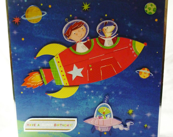 Decoupage Card, Boys Birthday Card, Greeting Card, Space Ship, Rocket, Outer Space, Boy, Any Age, Son, Brother, Nephew, Grandson