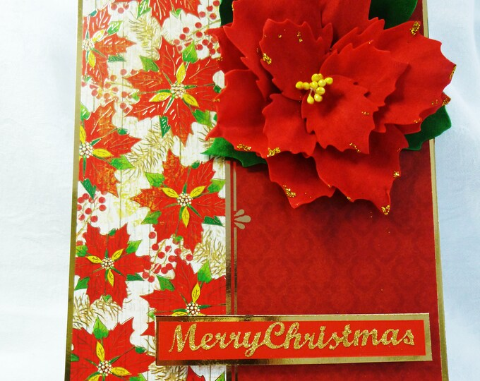 Traditional Christmas Greeting Card, Handmade Red Poinsettia, Large Flower, Red And Gold, Any Age, Male or Female,