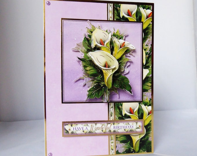 Lily Birthday Card, 3 D Decoupage Card, Floral Card, Special Birthday, Especially For You, Special Day Card, Celebrate Your Day