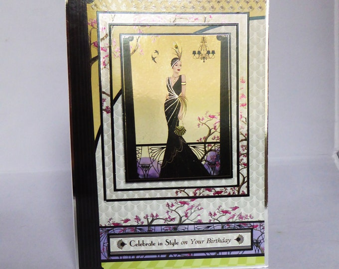 Art Deco Card, Stylish Lady In Black Dress, Celebrate In Style, Special Birthday Card, Special Day, Birthday Wishes, Handmade In The UK