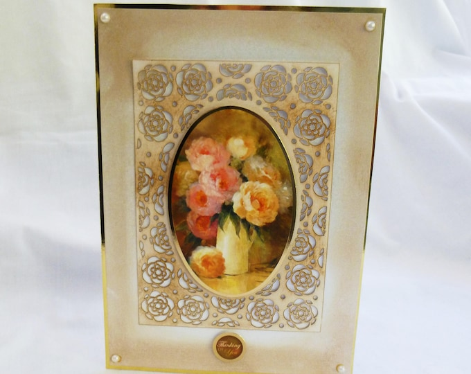 Floral Greeting Card, Birthday Card, Thinking of You Card, Filigree Framed, Decoupage Card, Especially For You, Handmade In The UK