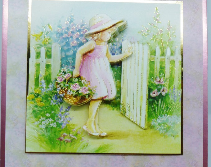 3 D Decoupage Card, Little Girl at the Gate, Birthday Card, Special Day Card, Especially For You, Celebrate Your Day, Handmade In The UK