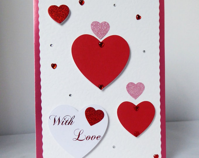 Valentines Card, Love Card, Romance Card, With Love, Heart Card, Special Day Card, Anniversary Card, Handmade In The UK, Personalised