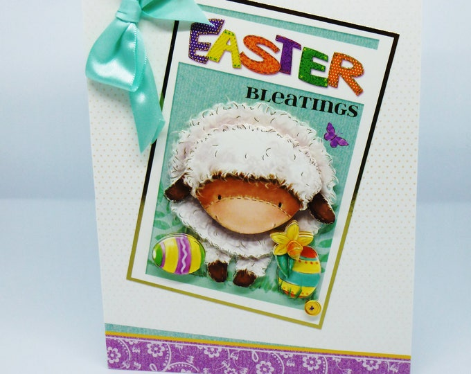 Easter Card  Greeting Card, Any Age, 3D Decoupage  Sheep, Male or Female, Mum, Dad, Sister, Brother, Son, Daughter, Niece, Nephew