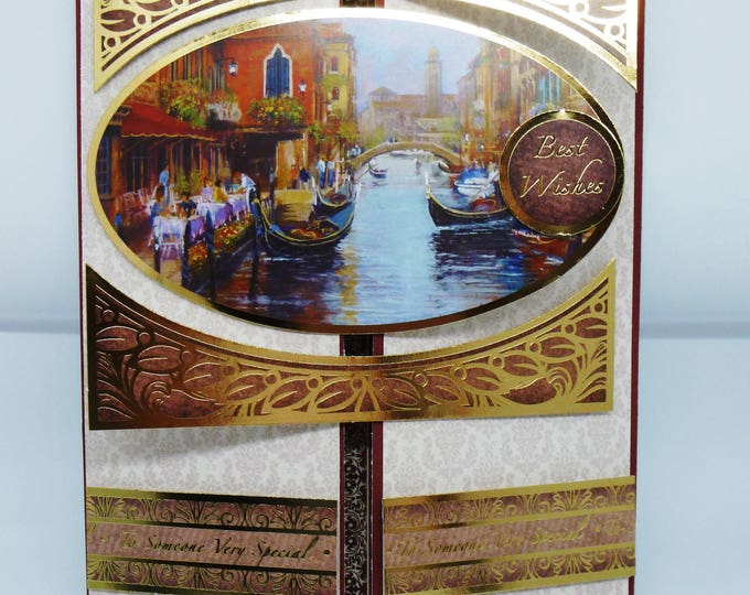 Waterside Cafe, Boats, Gate Fold Card, Gold and Maroon, Waterside Cafe, Handmade Card,  Canels And Boats