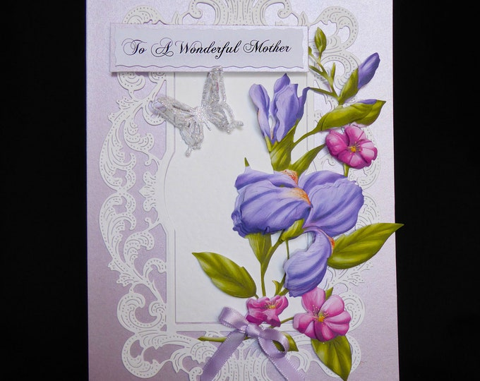 Birthday Card, Wonderful Mother Card, Special Day Card,  3D  Decoupage Card, Floral Card, Handmade In The UK