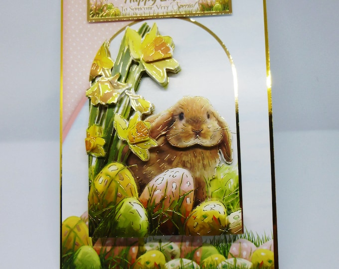 Easter Card, Easter Bunny, Spring Flowers, Easter Eggs, 3D Decoupage, Easter Greetings, Greeting Card,