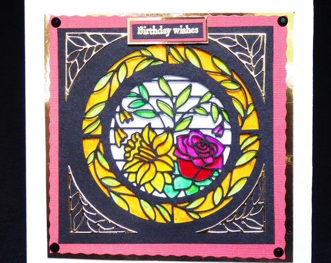 Stained Glass Window Card, Floral Card, Birthday Card, Birthday Wishes, Especially For You, Special Day,  Handcrafted.