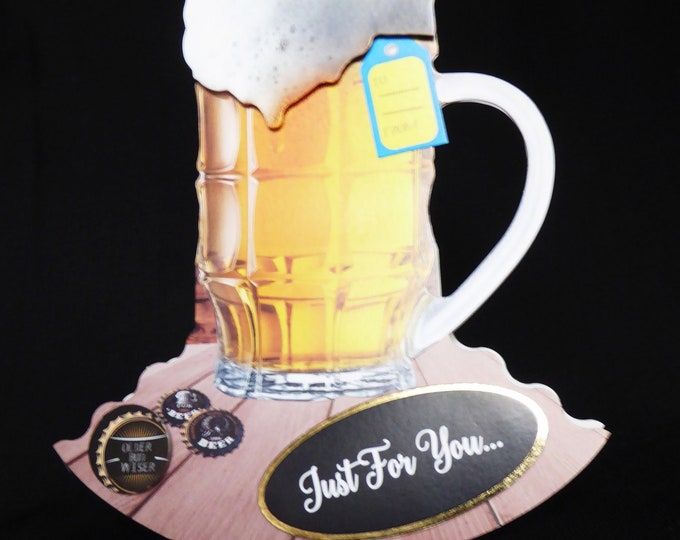 Pint Of Beer Card, Rocker Card, Beer Card, Older Bud Wiser, Enjoy Your Day, Just For You, Especially For You, Handcrafted, Personalised