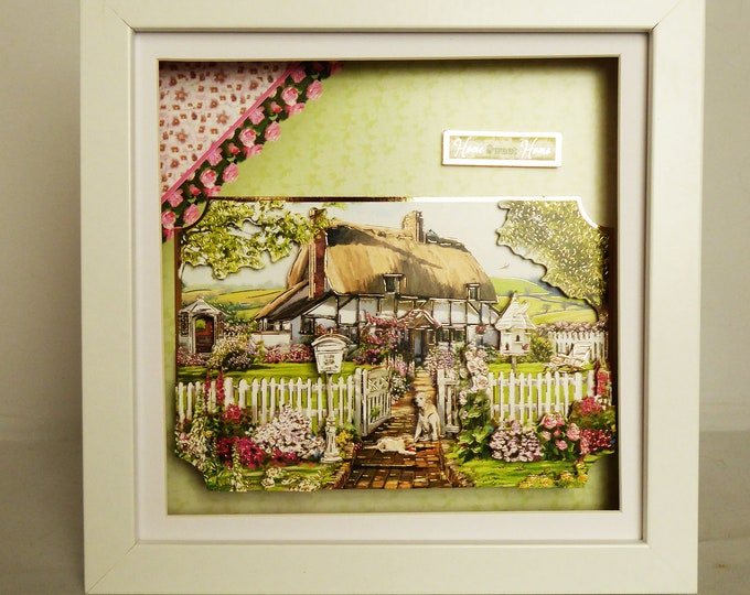 Cottage Shadowbox  Picture, 3 D Decoupage Picture, Mothers Day Gift, Birthday Gift, Wedding Gift, Anniversary Gift, House Warming Gift,