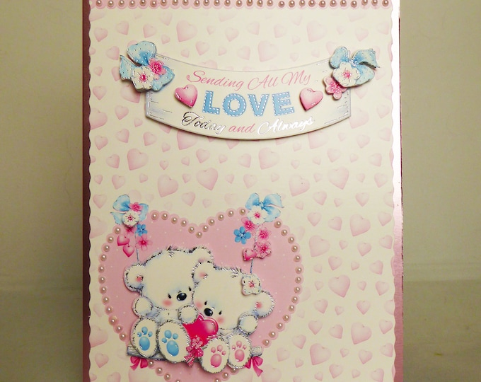 Two Bears Love Card, Wedding Card, Love Card, Couple Card, Engagement Card, Special Day Card, Congratulations Card, Handmade In The UK